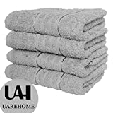 SET OF 4 PURE EGYPTIAN COTTON TOWELS BATHROOM GIFT SET JUMBO SHEET BALE TOWELS (Bath Towel, Silver)