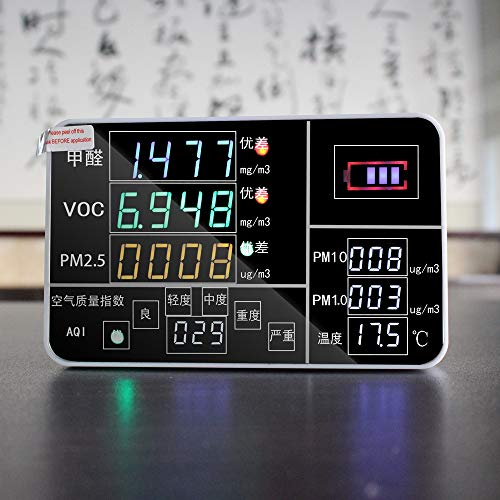 DZSF 9-in-1 Digital wiederaufladbare Air Quality Monitor Sensor Tester HCHO VOC Detektor Air Quality Analyzer Thermometer
