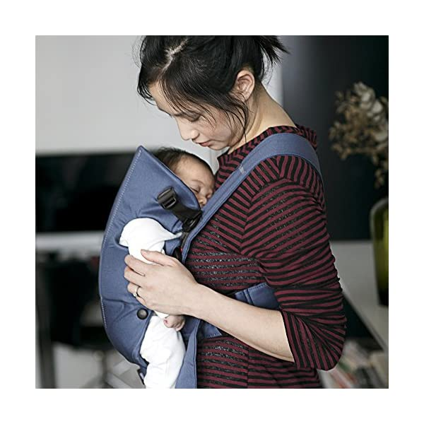 BABYBJÖRN Baby Carrier, Vintage Indigo Baby Bjorn Perfect first baby carrier for a newborn Small and easy to use BCI-certified cotton that is stretchy in the seat area and satin woven to make it super-soft and comfy 2