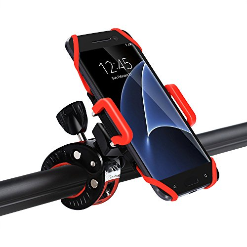 iCozzier Fahrrad Handyhalterung, Universal Verstellbar Drehbar Halterung Fahrradlenker & Motorrad Halterung für iPhone 7 6S plus 5S 5C, Samsung Galaxy S7 Edge S6 Edge, LG G5, HTC10, iOS, Android Smartphones, GPS, und andere kompatible Geräte (rutschfester Klammer, 360 Grad drehbar , Gummistreifen) - 5