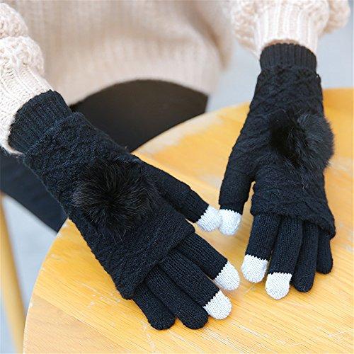 51CfGv EPOL. SS500  - Qearly Multi-functional Lovely Women Gloves Winter Mittens Winter Gloves-Black