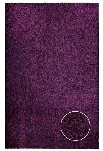 Hochflor Shaggy Teppich kuschelweicher Trendsetter in aubergine (100 x 160 cm) Teppich Aubergine
