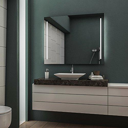 LED Badspiegel Badezimmerspiegel Wandspiegel Bad Spiegel - 4000K neutralweiß 90 cm Breit x 70 cm Hoch Legato Licht seitlich