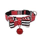 Keepwin Einstellbare Bow Pet Halskette Gedruckt Glocke Hundehalsband Welpen Haustier Hund PU Lederhalsbänder (L, Schwarz)