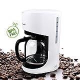 Aigostar Milk 30HMB – Cafetière à filtre sans BPA, capacité de 1,5 litres, 900 watts, filtre permanent lavable et fonction maintenir au chaud. Couleur blanc. Design exclusif.