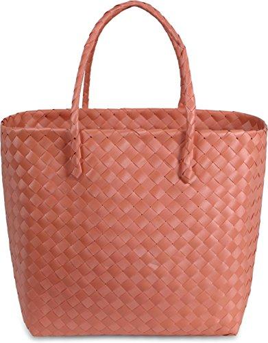 normani Einkaufstasche geflochten mit Henkeln - Tragetasche extra robust Farbe Pastell Carry/Orange