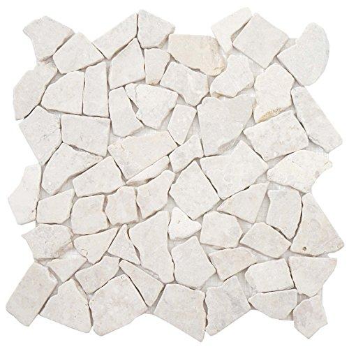 Akzent Fliesen Marmor (Mendler Steinfliesen Vigo T687, Marmor Naturstein-Fliese Mosaik, 11 Stück je 30x30cm = 1qm ~ Creme-weiß)