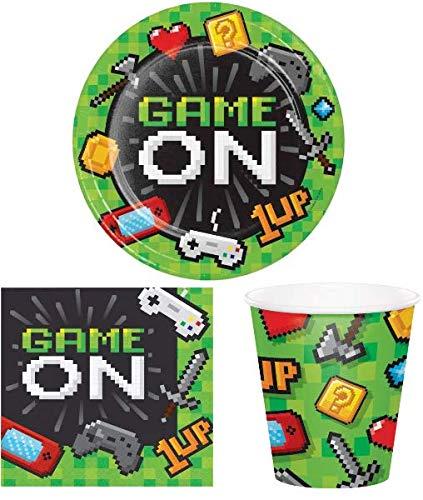 Unbekannt Partyset Gaming für 8 Gäste Teller Becher Servieten / Computerspiel / Game / Pixel