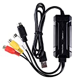 Top-Longer USB Video Grabber VHS Video Digitalisieren - USB 2.0 Video Capture VHS auf DVD Konverter für Hi8 Kassette Camcorder VHS Adapter,PC,Mac,iMac