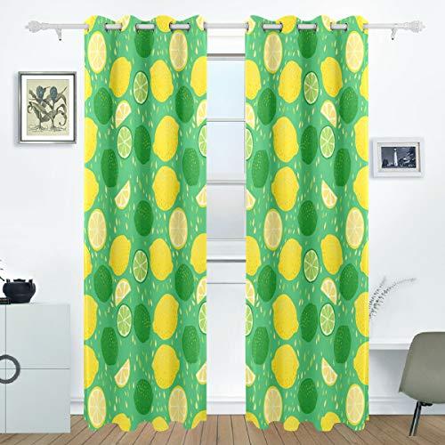 Grünes Glas-türen (Ahomy Cartoon gelb grün Zitronen und Limetten Polyester Vorhang Verdunkelungsvorhang Home Decor für Terrassenfenster Schiebetür Glas Tür 213,3 x 139,7 cm 2 Panels Set)