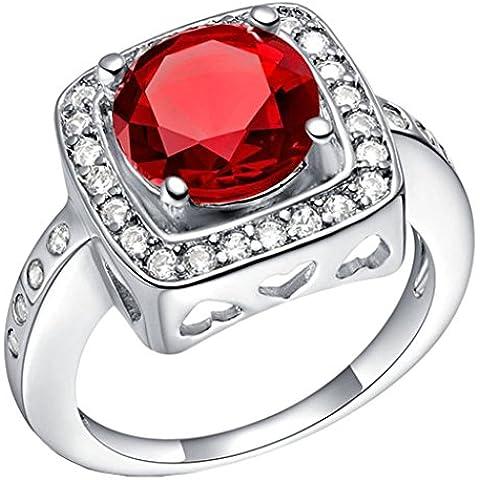 14 millimeter Tailloday * 14 mm de lujo cristal diamante simulado de gran 925 anillo de plata de ley con circonitas y un corazón anillos de Color