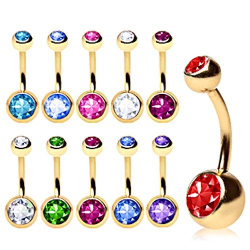 Über Alle Vergoldet Kristalle 316L Bauchnabel Ring Chirurgenstahl