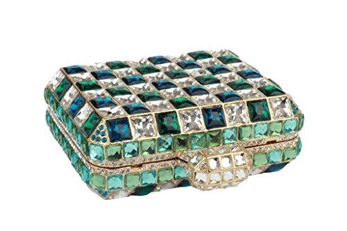 Yilongsheng femmes Lattice cristaux diamant Carré de bal Embrayage Sacs vert