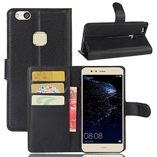 Custodia Huawei P10 Lite - MYLB Portafoglio in pelle PREMIUM PU con Card Slot di caso di stile del libro Cover per Huawei P10 Lite smartphone (Nero)