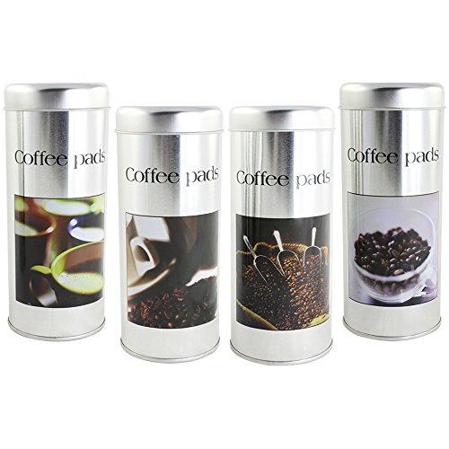 com-four® 4X Kaffeepad-Dose, Dekodose, zufällige Dekore, Aufbewahrungsbehälter für Kaffeepads (4 Stück - Set 4)