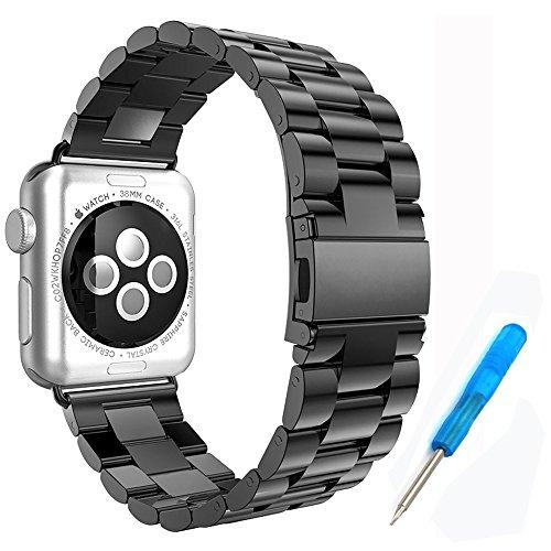 Preisvergleich Produktbild Woodln für Apple iWatch Series 1 Series 2 Edelstahl Uhrenarmband Strap Replacement Wrist Band Armband für Apple Watch 42 mm/38 mm (42MM, Black)