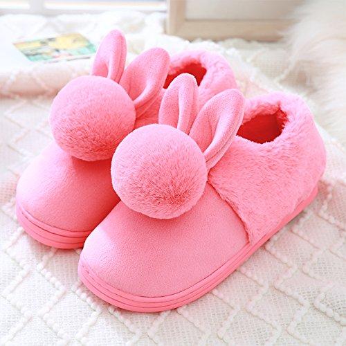 DogHaccd pantofole,Il cotone pantofole, autunno e inverno inverno spesso rimanere a casa le coppie pacchetto con grazioso antiscivolo eleganti interni e Il rosso4