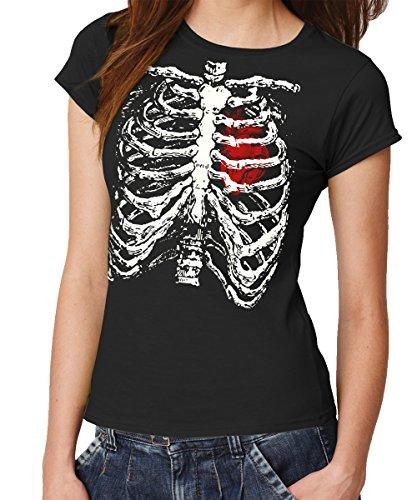 clothinx Damen T-Shirt Fit Skelett Kostüm Schwarz Gr. M (Skelett Kostüm Enge)