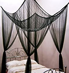 Four Poster Bed - Romantic Bed Canopy – Black King Size Bed Netting - Hang in Minutes, Easy Installation – Ideal Bedroom Accessory Home and More Store