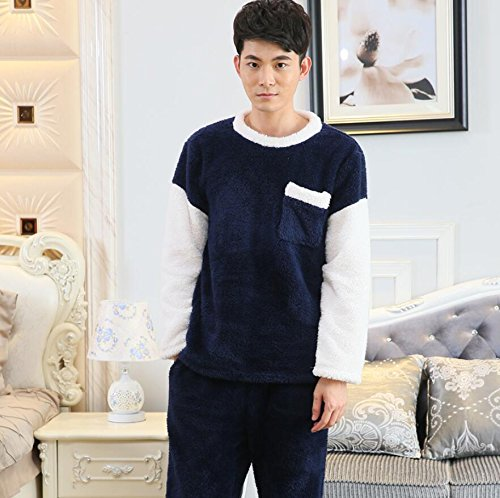 ZC&J Coral Kaschmir Liebhaber lose Pyjama Verdickung Komfort Haus Service einfache atmungsaktive Bademantel Mode Pyjama Anzug,Ms apricot,L Men blue