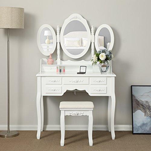 Songmics weiß luxuriös Kippsicherung Schminktisch mit 3 spiegel und hocker, 7 schubladen inkl. 2 Stück Unterteiler, Kippsicherung, 145 x 90 x 40 cm RDT91W - 6