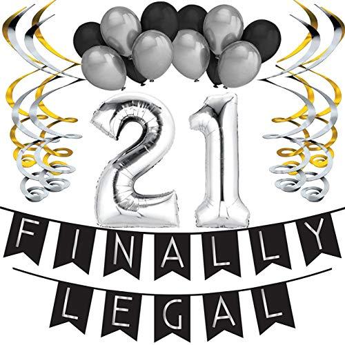 1. Happy Birthday Girlande - Schwarz & Gold Deko Geburtstag, Luftballons, Pom Poms und Spiralgirlande Silber - Party Zubehör ()