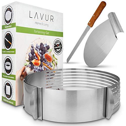 LAVUR ® Tortenring - Backform im 3er Set aus Tortenring, Kuchenretter und Küchenmesser - hochwertiges Design - 23-30cm Durchmesser - Ring stufenlos verstellbar - Schneiden von 8 Böden...
