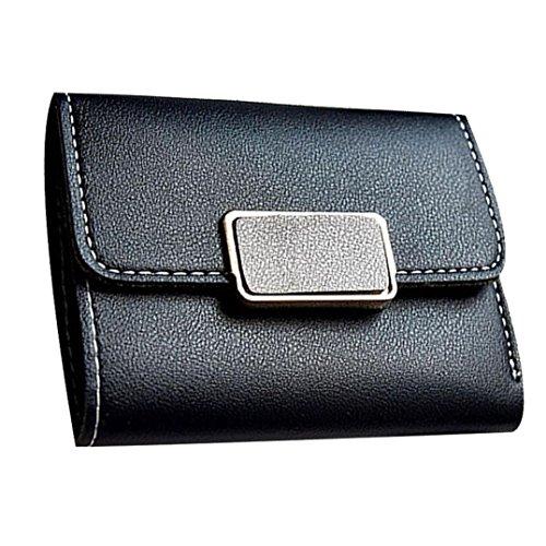Portafoglio Donna, Tpulling Borsa della borsa del supporto della carta del raccoglitore della borsa della frizione delle donne (Gray) Black