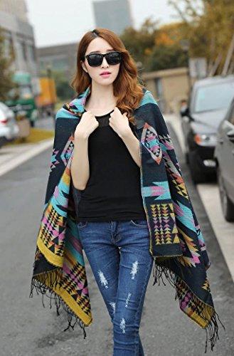tonwhar® pour femme Vintage à capuche Cape Cape Bohème franges châle Multicolore - 002
