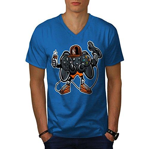 wellcoda Cool Joystick Nerd Gaming Männer L V-Ausschnitt T-Shirt