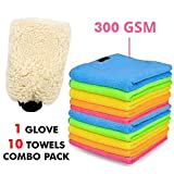 #2: AllExtreme Combo Pack of Microfiber Car Washing Super Absorbent Reusable Mitt Dusting Cleaning Glove with Towels - 10-Towels and 1-Glove
