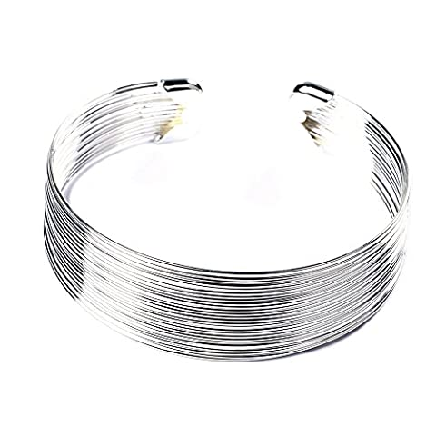 BODYA Simple plain Open Retro Multilayer Lined Italian Metal Thin Hammered Bunch Wide cuff Mesh Bracelet Bangles for Women