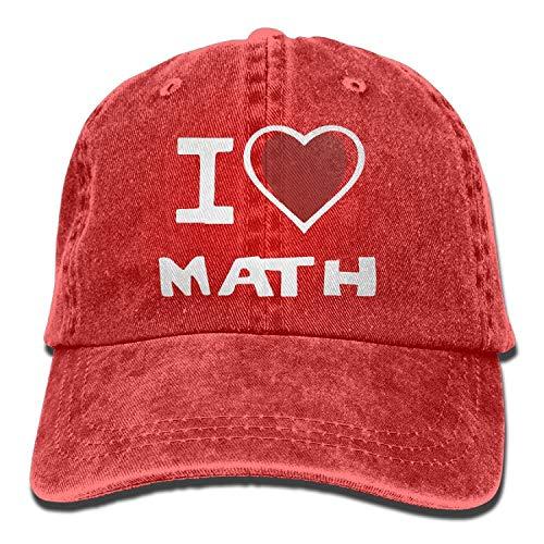 2018 Adult Fashion Cotton Denim Baseball cap I Love Math Classic Dad Hat Adable Plain cap,Un codice,Rosso,