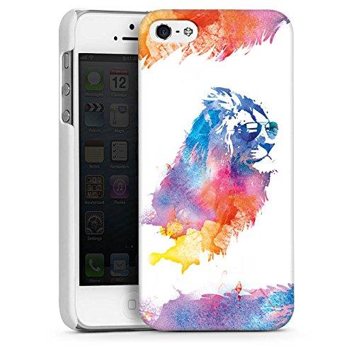 Apple iPhone 5s Housse Étui Protection Coque Lion Peinture à l'eau couleurs CasDur blanc