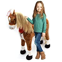 Pink Papaya Plush Horse XXL - Almost lifesize giant horse 105cm, Standing horse, Toy horse can carry a load of up to 100 kg - Children