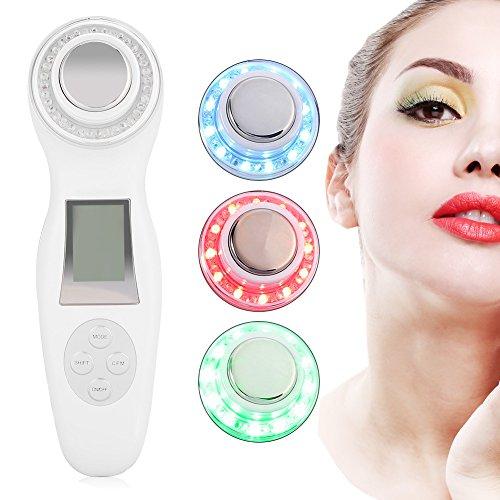 Ultraschallgerät Ionen Import Photon Therapie Schönheitsgerät für Anti-Aging Skin Lifting Anti-Falten Anti-Aging und Akne (Weiß)