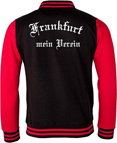 College Jacken / Baseball-Jacken bedrucken lassen Frankfurt Mein Verein Schwarz Rot