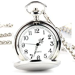 UNIQUEBELLA Pocket watch-Quartz-Men/ Women/ Children-Vintage-Alloy Chain/Necklace-B8 016-Silver-Simple