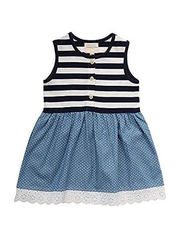 Oceankids Little Girl's Navy BLue & Blue Summer Sleeveless Stripe Flare Dress 6-7 Years