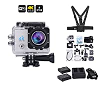 Erkona 4K Sport Action Camera with Wifi, Chest Harness, Helmet Fittings, 2 batteries, Dual Battery Charger plus more accessories, 14MP Wi-Fi 2.0'' LCD Screen Full HD 170° Ultra Wide-Angle Lens Cameras, Waterproof