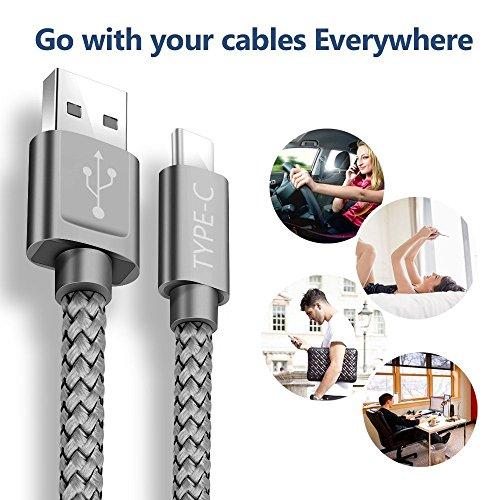 USB C Kabel Snowkids Nylon USB Type C Ladekabel [2 Stück 2 M] für Samsung Galaxy S8 plus/Note 8/A5 A3 2017,Google Pixel,Moto Z,LG G5 G6 V20, Huawei P9/P10/hornor8/9,Sony Xperia XZ, HTC 10/U11(Greu) - 6