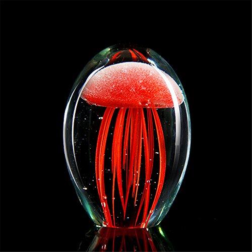 Farbige handgemachte Glühen Glas Qualle Briefbeschwerer Aquarium Kristall Kunst Handwerk Sammlerstück (Rot) (Handgemachte Kunst Und Kunsthandwerk)