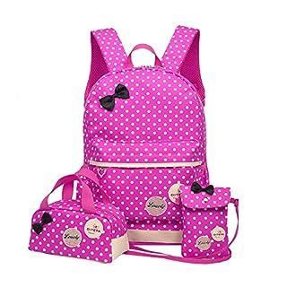 Kinder Teen Mädchen Niedliche Punkt Schule Rucksack Handtasche 3pcs(rosa)