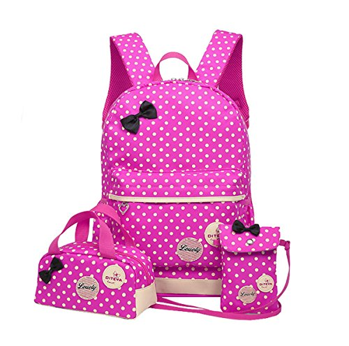 40073b8ea0 Ahatech bambini bambini teen girls carino pois libro sacchetto di scuola  zaino borsa 3pcs borsa (