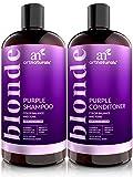 ArtNaturals Shampoo und Conditoner für Blondiertes-Blondes Haar - (2 x 16 Fl Oz / 473ml) - Lila Farb-Pflege Set gegen Gelbstich - Purple Shampoo & Conditioner Bleached Hair - Sulfat-frei