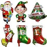 ED-Lumos Globos de Helio 6 Piezas Decoración para Navidad Multicolor Forma Papá Noel Arbol de Navidad calcetín de Navidad Niño Regalo