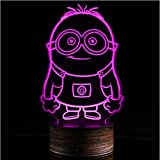 3d Led Optical Illusion Lamp Wooden Base Minions Night Light Colors Change Visual...