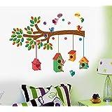 Decals Design ' Bird House on a Branch' Wall Sticker (PVC Vinyl, 50 cm x 70 cm)