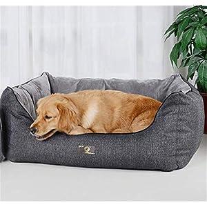 FVCDWSA Grauer Nachahmung Baumwollstoff, Hundebett, Haustierbett, Haustier-Versorgungsmaterialien, entfernbares und waschbares inneres Kissen, reversibel, umschaltbares Design,XL