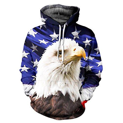 USA-Flagge Sweatshirt Männer/Frauen Kapuzenpullover Hooded 3d Drucken Sterne Eagle Cap Hoodies mit vorderen Taschen Trainingsanzüge, JH0037, XL (Pullover Frauen Eagles)